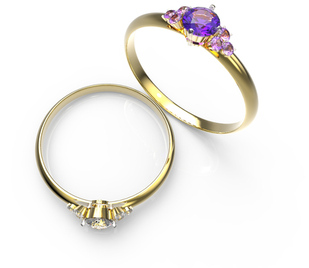 glisten: Diamond Rings a on white background. Fashion jewelry. 3d digitally rendered illustration Stock Photo