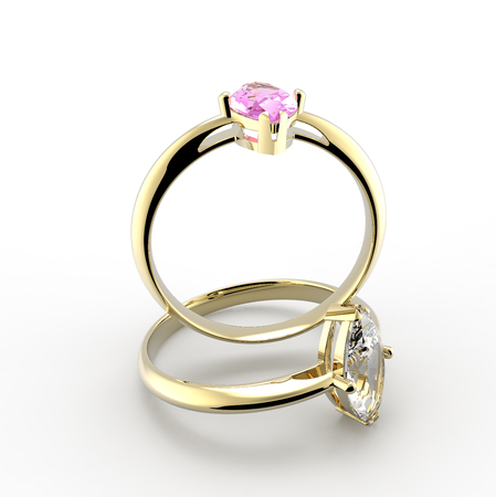 ring ruby: Diamond Rings on a white background. Fashion jewelry. 3d digitally rendered illustration Stock Photo