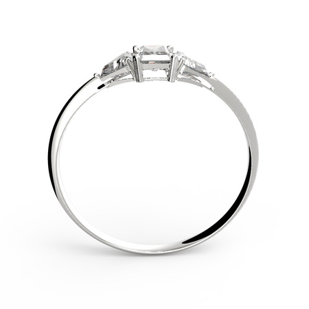 Wedding ring with diamond isolated on a white background.  3D illustration Stock Photo