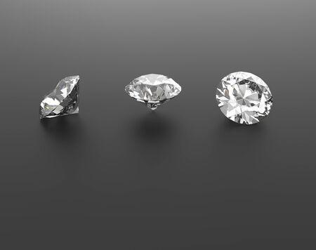 Diamonds on a black background. Gems. 3d digitally rendered illustration