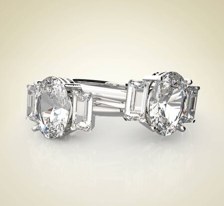 Diamond Rings on a light background.  Fashion jewelry. 3d digitally rendered illustration