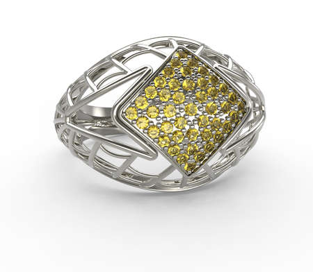 Ring with diamond isolated on a white background. 3d digitally rendered illustration