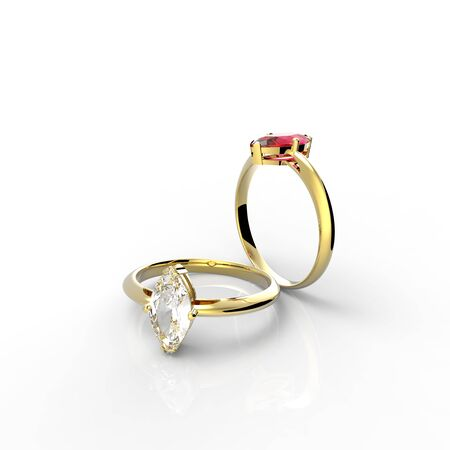 ring ruby: Diamond Rings. Isolated on white background.  Fashion jewelry. 3d digitally rendered illustration Stock Photo