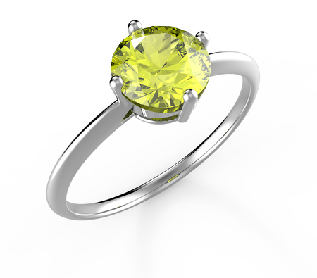 jewelery: Wedding ring with diamond isolated on white background. Fashion jewelery. 3d digitally rendered illustration