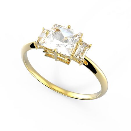 Wedding ring with diamond on a white background. Fashion jewelery. 3d digitally rendered illustration