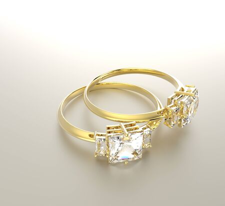 Golden wedding rings with diamonds.. Fashion jewelry. 3d digitally rendered illustration Stock Photo