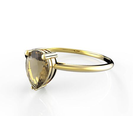 opal: Wedding ring with diamond on a white background. Fashion jewelery. 3d digitally rendered illustration