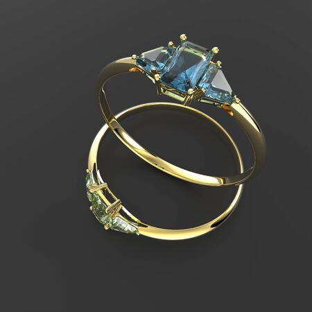diamond rings: Diamond Rings. Fashion jewelry. 3d digitally rendered illustration Stock Photo