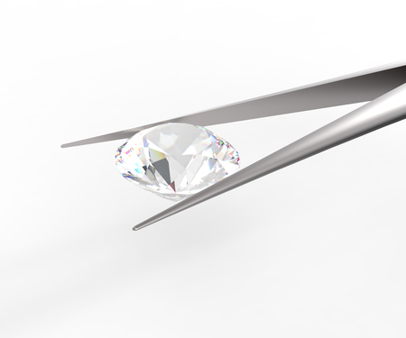 caustic: Pure white diamond in tweezers on a white background. 3d digitally rendered illustration Stock Photo
