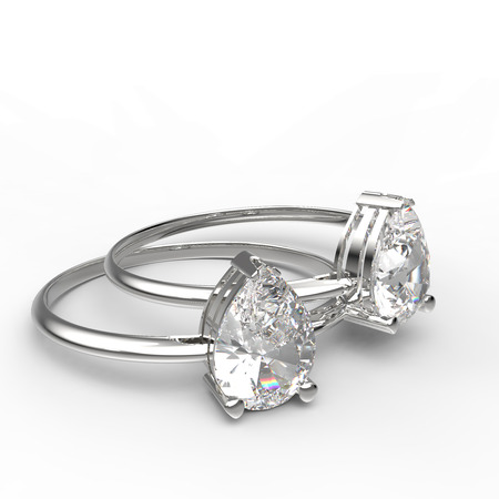 Diamond Rings a on white background. Fashion jewelry. 3d digitally rendered illustration Stock Photo