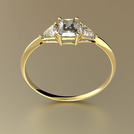 Golden wedding ring with diamonds.. Fashion jewelry. 3d digitally rendered illustration Stock Photo