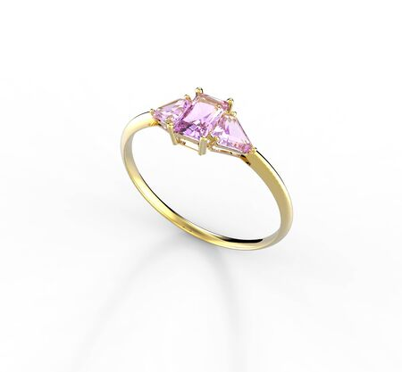 opal: Wedding ring with diamond isolated on a white background. Fashion jewelery. 3d digitally rendered illustration