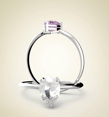 Golden wedding ring with diamonds. 3d digitally rendered illustration Stock Photo