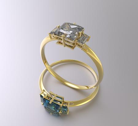 Golden wedding rings with diamonds. 3d digitally rendered illustration Stock Photo