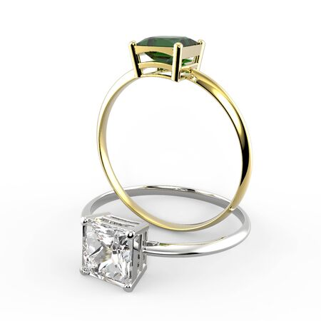 Rings with diamonds. Fashion jewelry. 3d digitally rendered illustration Stock Photo
