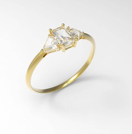Golden wedding ring with diamonds. Fashion jewelry. 3d digitally rendered illustration