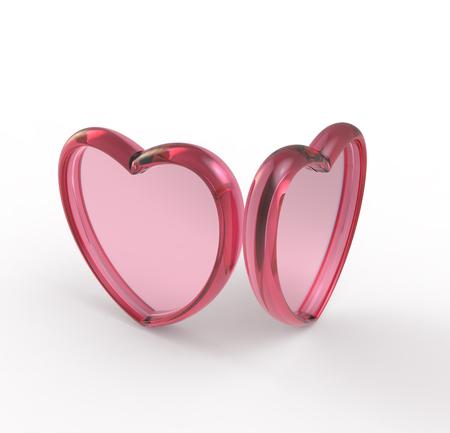 Red Glass heart. 3d digitally rendered illustration