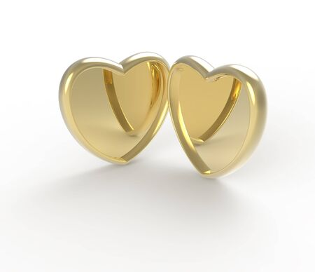 Gold metallic Heart. 3d digitally rendered illustration