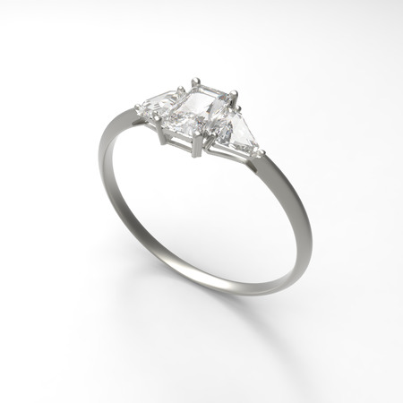 rich couple: Wedding ring with diamond isolated on a white background. 3d digitally rendered illustration