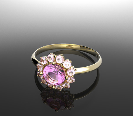 sapphire gemstone: Wedding rings with diamond. Fashion and stylish jewelry.  3d digitally rendered illustration