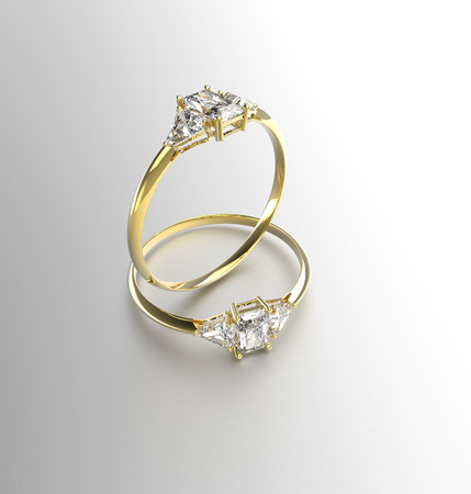 Two wedding gold rings with diamonds. 3d digitally rendered illustration