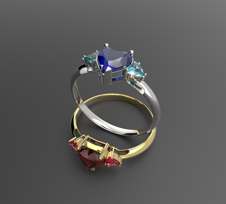 coeur diamant: Wedding rings with diamond heart. Fashion Jewelry. 3D illustration