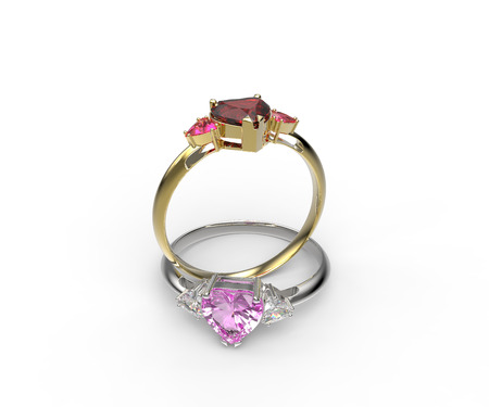 diamond rings: Wedding rings with diamond heart . 3d digitally rendered illustration