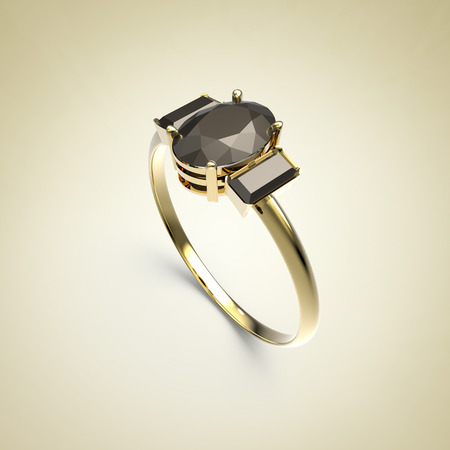 opal: Diamond Ring on a light background. Fashion jewelry. 3d digitally rendered illustration Stock Photo