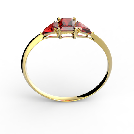ring ruby: Wedding ring with diamond isolated on a white background. Fashion jewelery. 3d digitally rendered illustration