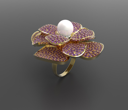 3d rendering of a gold ring with diamonds and pearl. Fashion Jewelry. Stock Photo