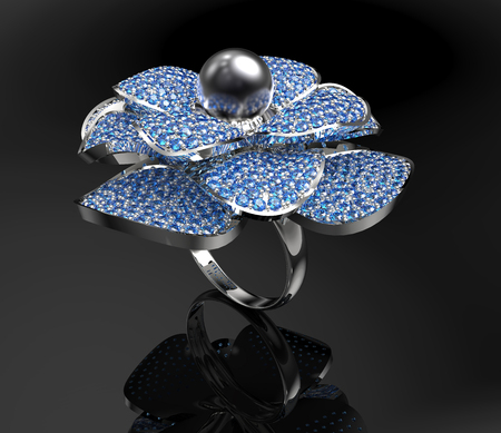 Platinum ring with diamonds and pearl. 3d illustration