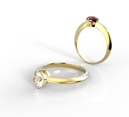 Diamond Rings on a white background. Fashion jewelry. 3d digitally rendered illustration Stock Photo