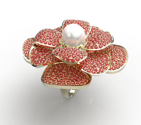 fashion jewelry: 3d rendering of a gold ring with diamonds and pearl. Fashion Jewelry. Stock Photo