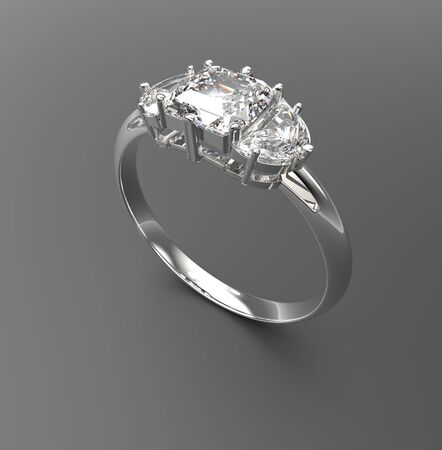 Wedding ring with diamonds. Fashion jewelry. 3d digitally rendered illustration Stock Photo