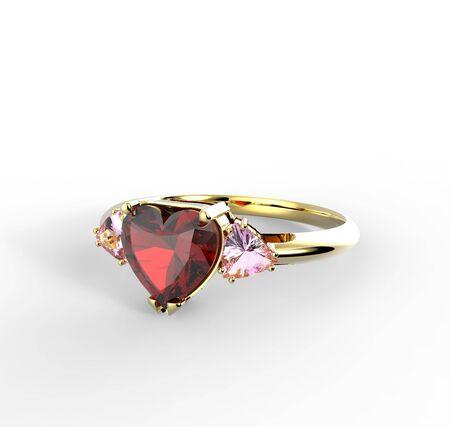 Wedding ring with diamond heart. Fashion Jewelry. 3D illustration