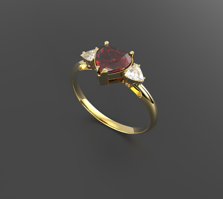 coeur diamant: Wedding rings with diamond heart . 3d digitally rendered illustration
