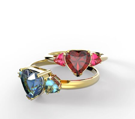 Wedding rings with diamond heart. Fashion Jewelry. 3D illustration