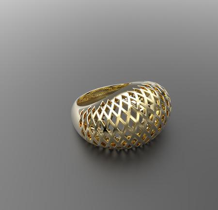 Ornamental gold ring. 3d digitally rendered illustration