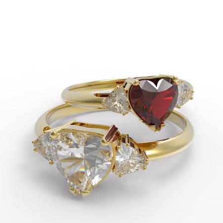 Wedding rings with diamond heart . 3d digitally rendered illustration