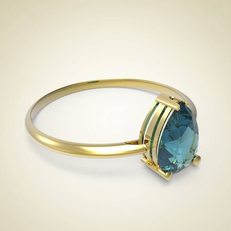 Diamond Ring on a light background. Fashion jewelry. 3d digitally rendered illustration Stock Photo