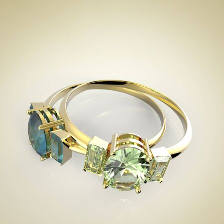 Diamond Rings. Isolated on a light background. Fashion jewelry. 3d digitally rendered illustration
