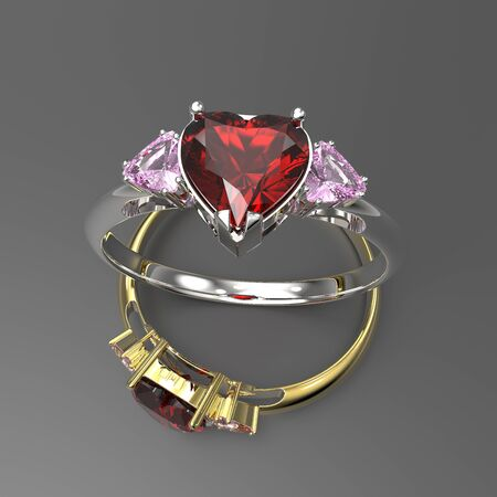 coeur diamant: Wedding rings with diamond heart. 3d digitally rendered illustration