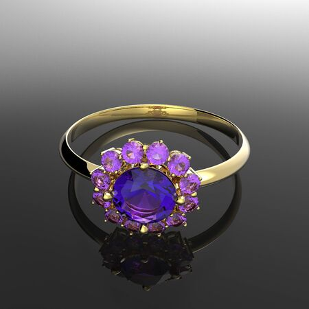 Wedding rings with diamond. Fashion and stylish jewelry. 3d digitally rendered illustration Stock Photo