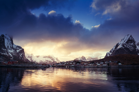 Sunrise winter in the Rhine, Lofoten, Norway, Europa