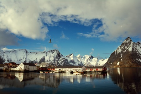 Sunny day on the Lofoten Islands (views bay and the rorbu houses), Norway, Europa