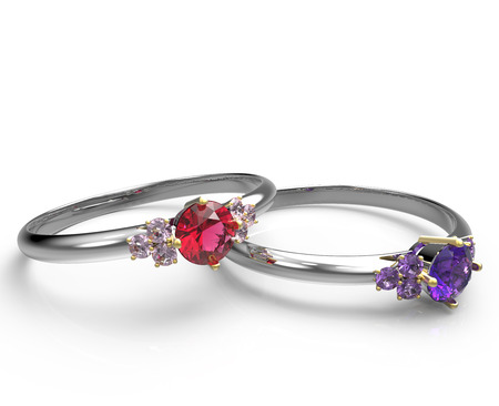 Engagement rings with diamonds on a white background. Fashion jewelry. 3d digitally rendered illustration Stock Photo