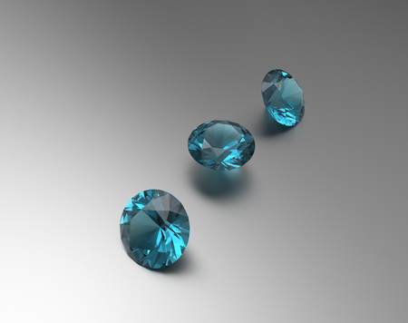 Background with blue gemstones. Fashionable and stylish accessories. 3D illustration