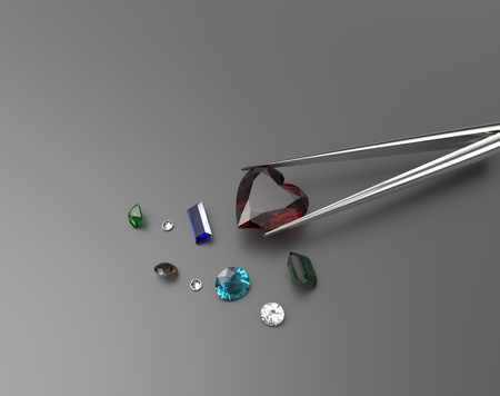 Collection of gemstones.s. Fashionable and stylish accessories. 3D illustration