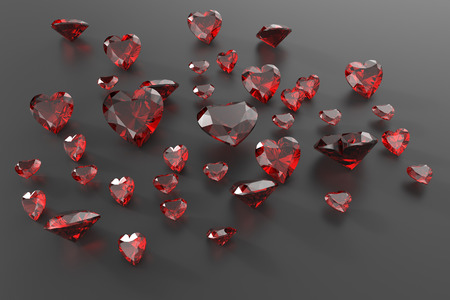 Background with red gemstones. Fashionable and stylish accessories. 3D illustration