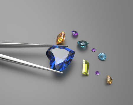 Collection of gemstones. Fashionable and stylish accessories. 3D illustration Stock Photo